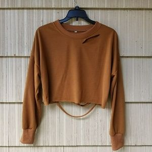 Distressed Cropped Long Sleeve